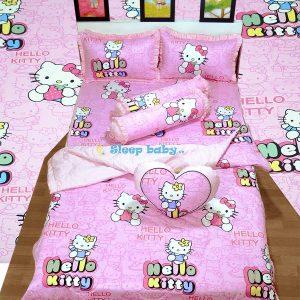 chăn ga gối bé gái Hello Kitty hồng