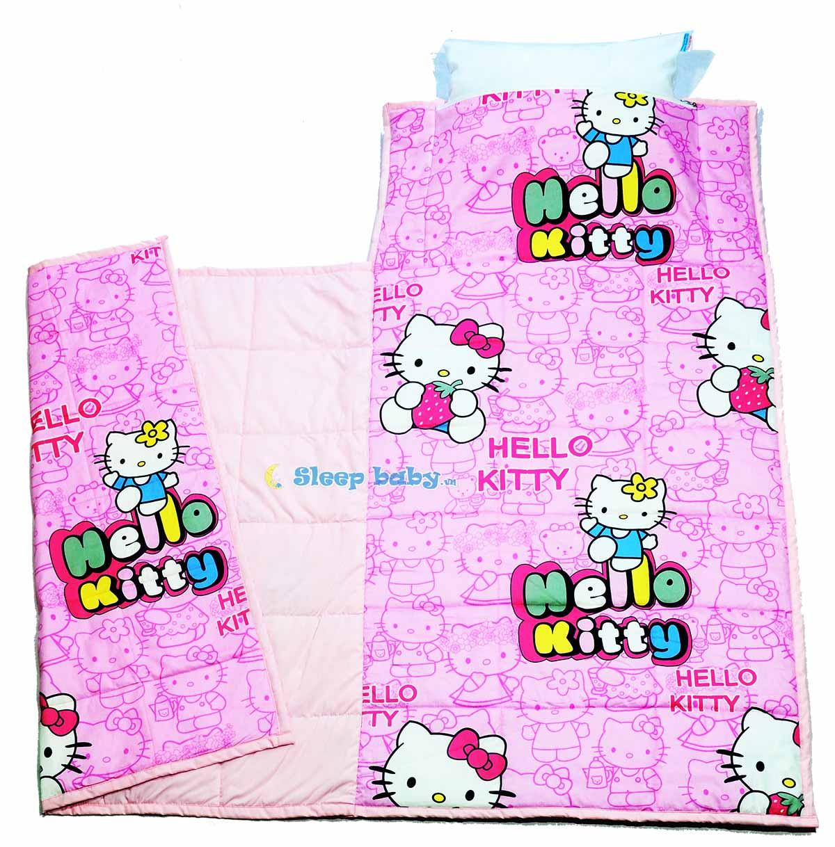 Nệm liền chăn cho bé đi học Hello Kitty hồng