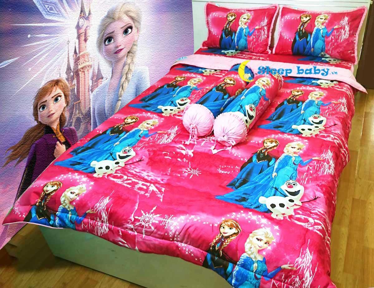 Chăn ga gối dành cho bé gái đáng yêu Elsa hồng